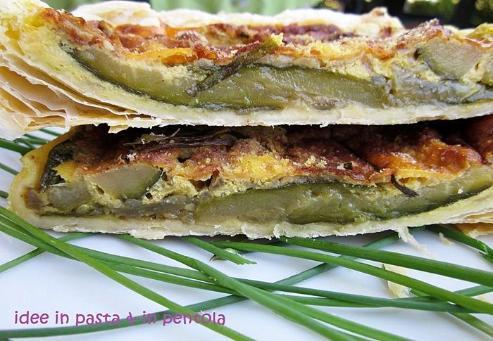 Torta di sfoglia con asparagi e zucchini