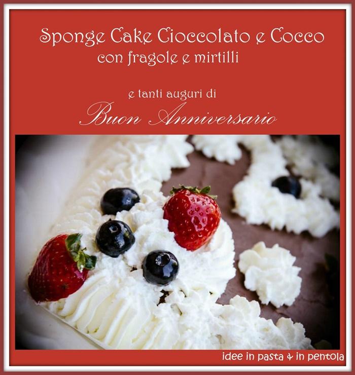 """Sponge Cake Cioccolato e Cocco """"Buon Anniversario Amore"""""""