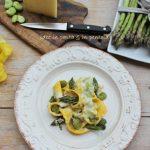 Crespelle a tagliatella con fave e asparagi
