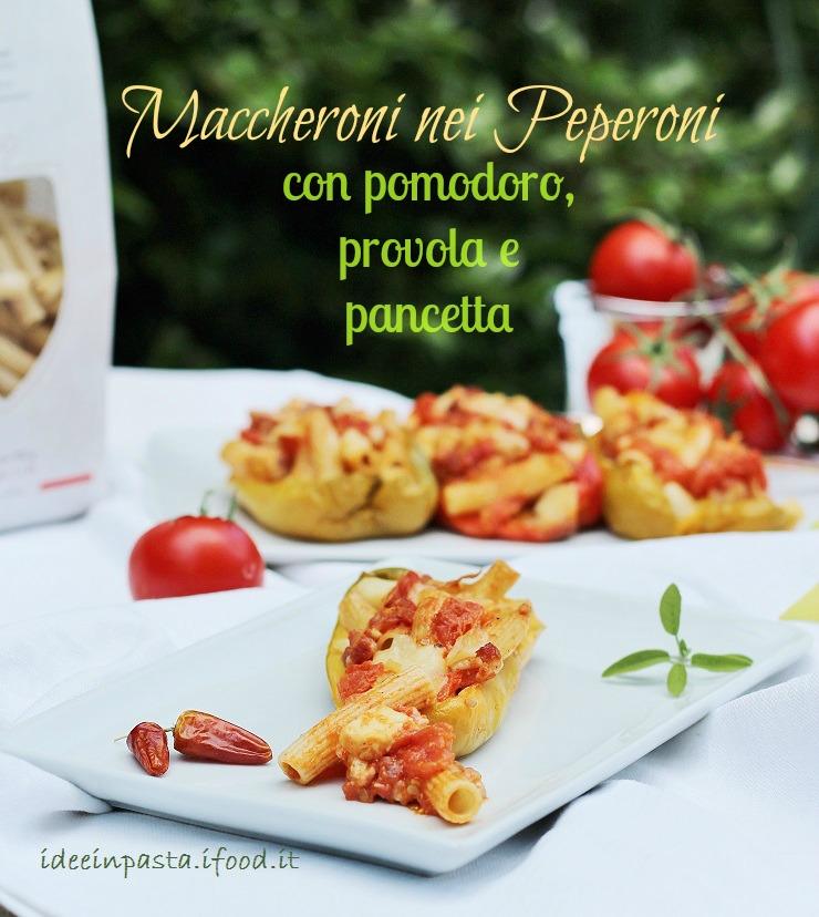 Maccheroni nei Peperoni con pomodoro, provola e pancetta