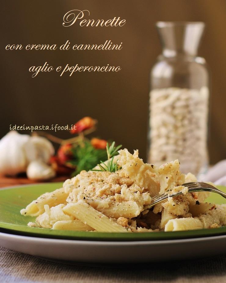 Pennette con crema di cannellini, aglio e peperoncino