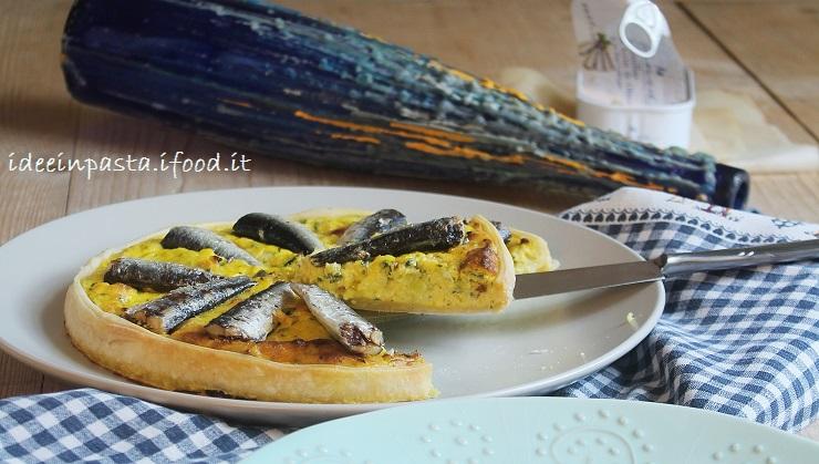 Quiche di porri e sardine con pasta alla ricotta