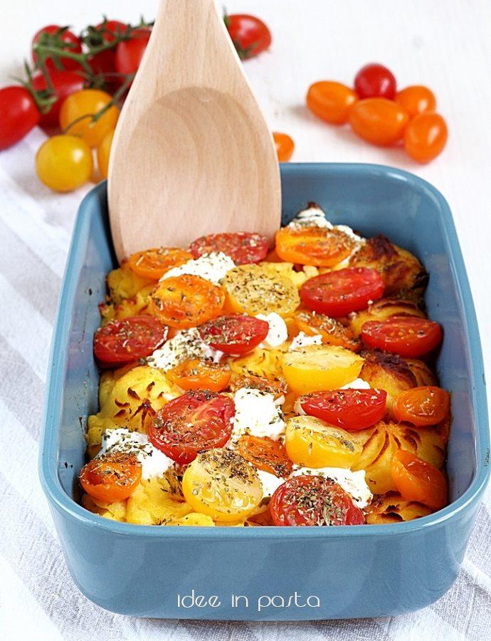 purè gratinato al forno con pomodorini
