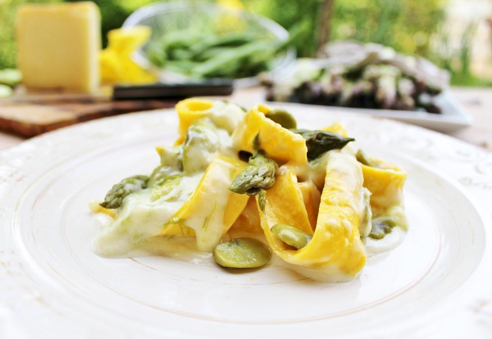 pappardelle di crepes verdure e pecorino